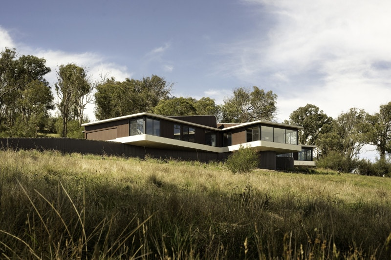 rural Australian cantilevered hill top house