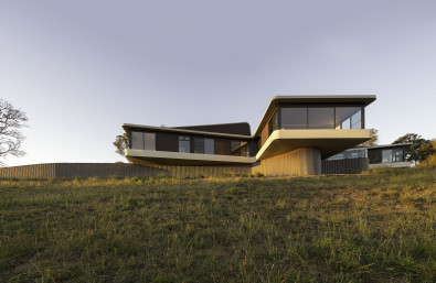 cantilevered hill top house country retreat