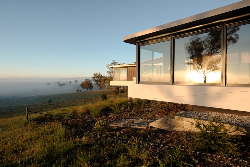 cantilevered concrete slab house country views