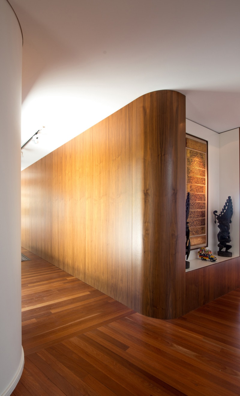 curved timber panel walls