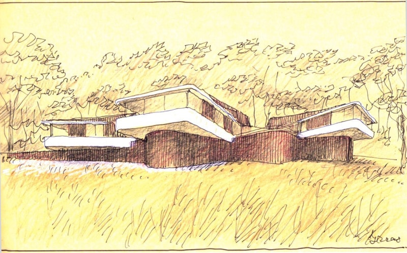 Luigi Rosselli hand sketch of High Country House