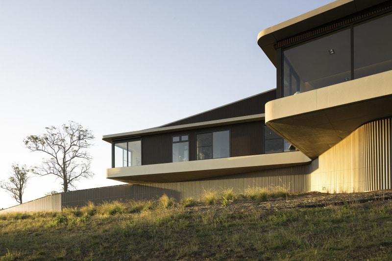 cantilevered concrete slab living room