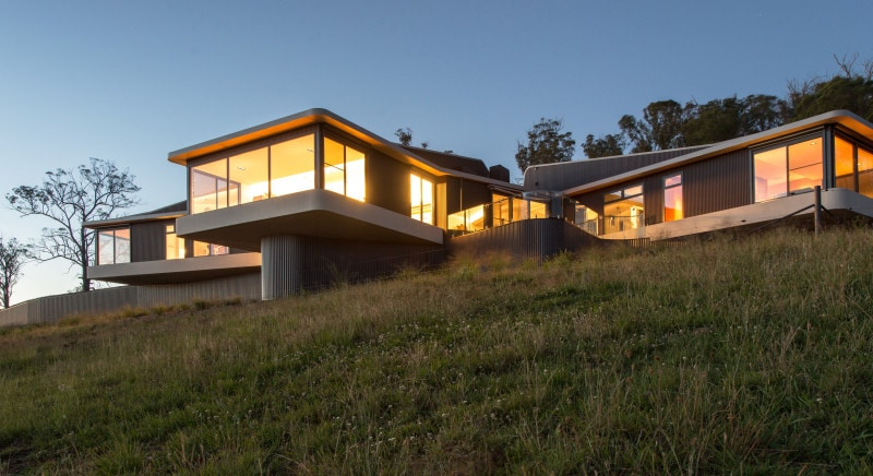 cantilevered concrete slab house country architecture