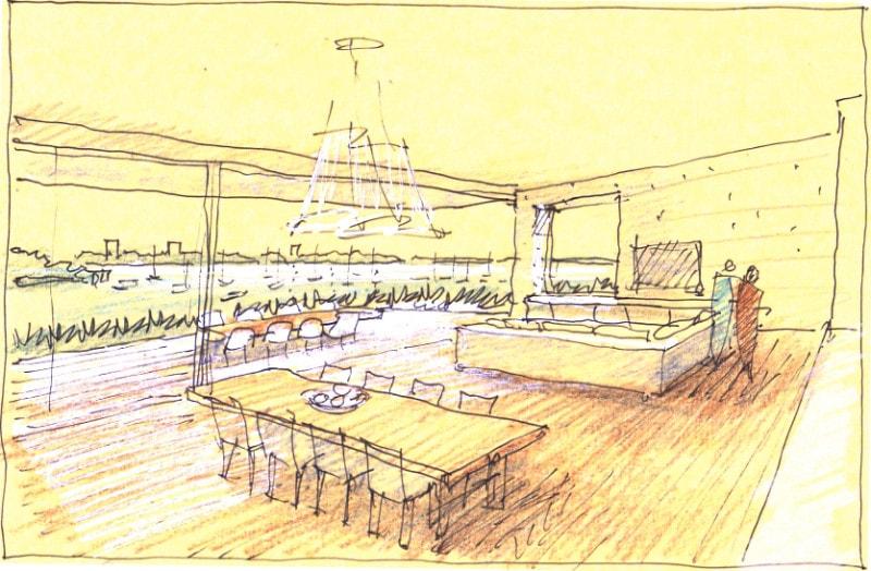 Luigi Rosselli, Kitchen, Sketch, Dining, Yellow Trace Sketch