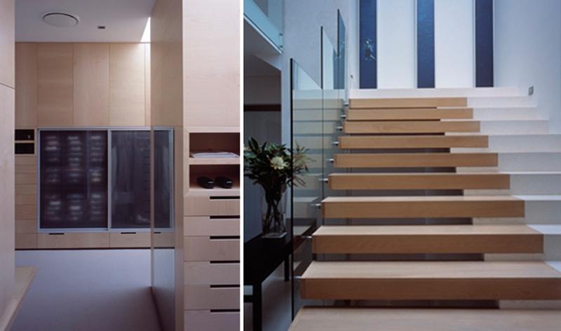 Luigi Rosselli, Floating Timber Steps, Frameless Glass Stair Balustrade