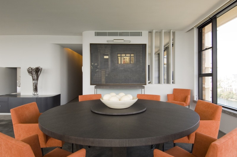 Luigi Rosselli, Dining Room, Dark Timber Walnut Furniture, Aluminum Windows, Rotating Screens