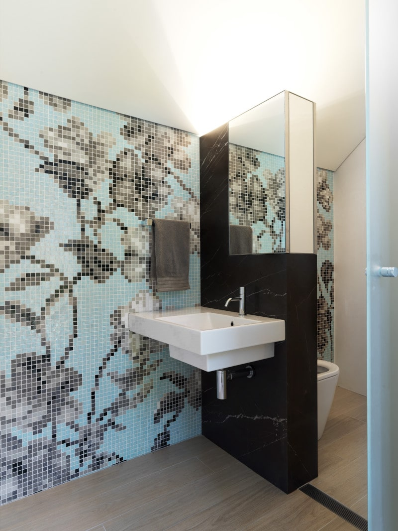 Colourful Wall paper, Vanity, Powder Room, Integrated Mirror