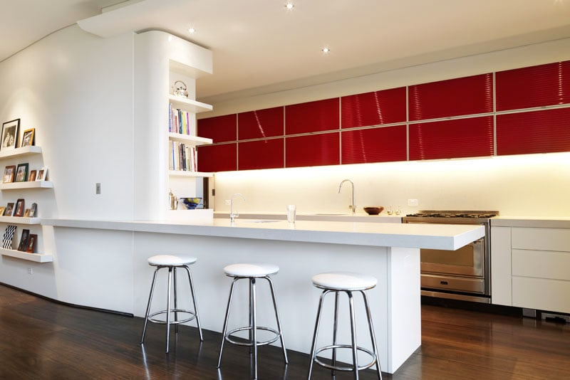Luigi Rosselli, Kitchen, Island Bench, Red Shelving