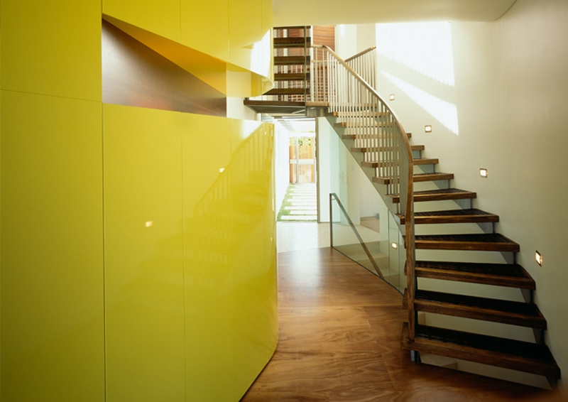 Luigi Rosselli, Yellow Interior, Timber Open Staircase, Timber Floorboards, Yellow Joinery