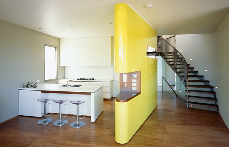 Luigi Rosselli, Yellow Internal Wall, Kitchen, Joinery, Island Bench, Joinery Dividing Wall