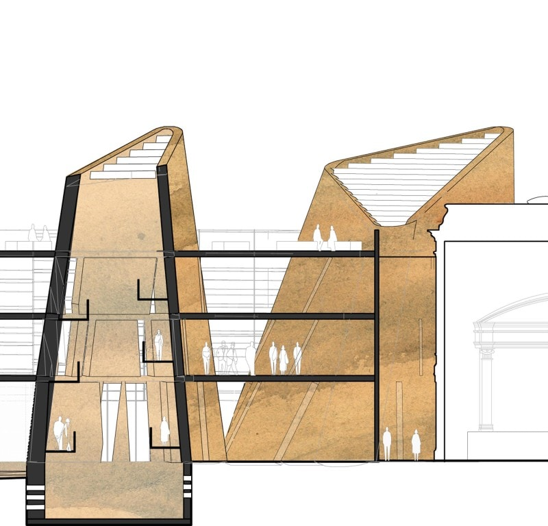 Luigi Rosselli, Rammed Earth, Library, Stacks, Sculptural Architecture, Sketch, Section