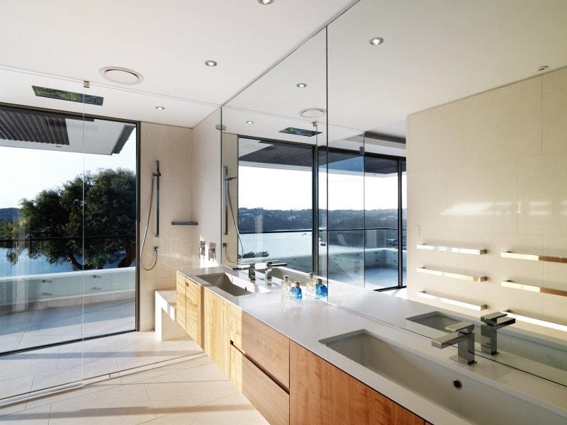 Luigi Rosselli, Bathroom, Mirrored Walls, Timber Veneer Vanities