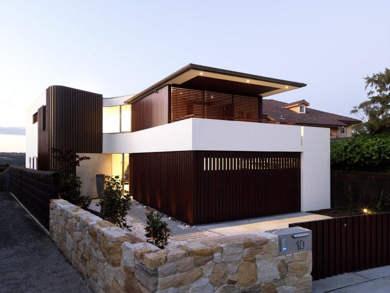 Luigi Rosselli, House, External Facade, White Render, Timber Cladding, Timber Garage Door, Timber Fencing