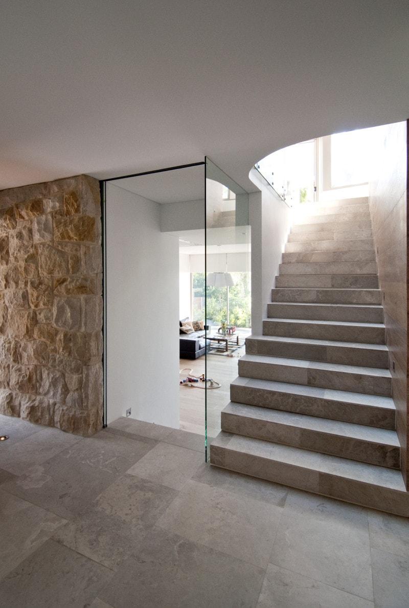 Luigi Rosselli, Tiled Flooring, Sandstone Cladding, Clear glass stair Balustrade, Pivot Entry Door