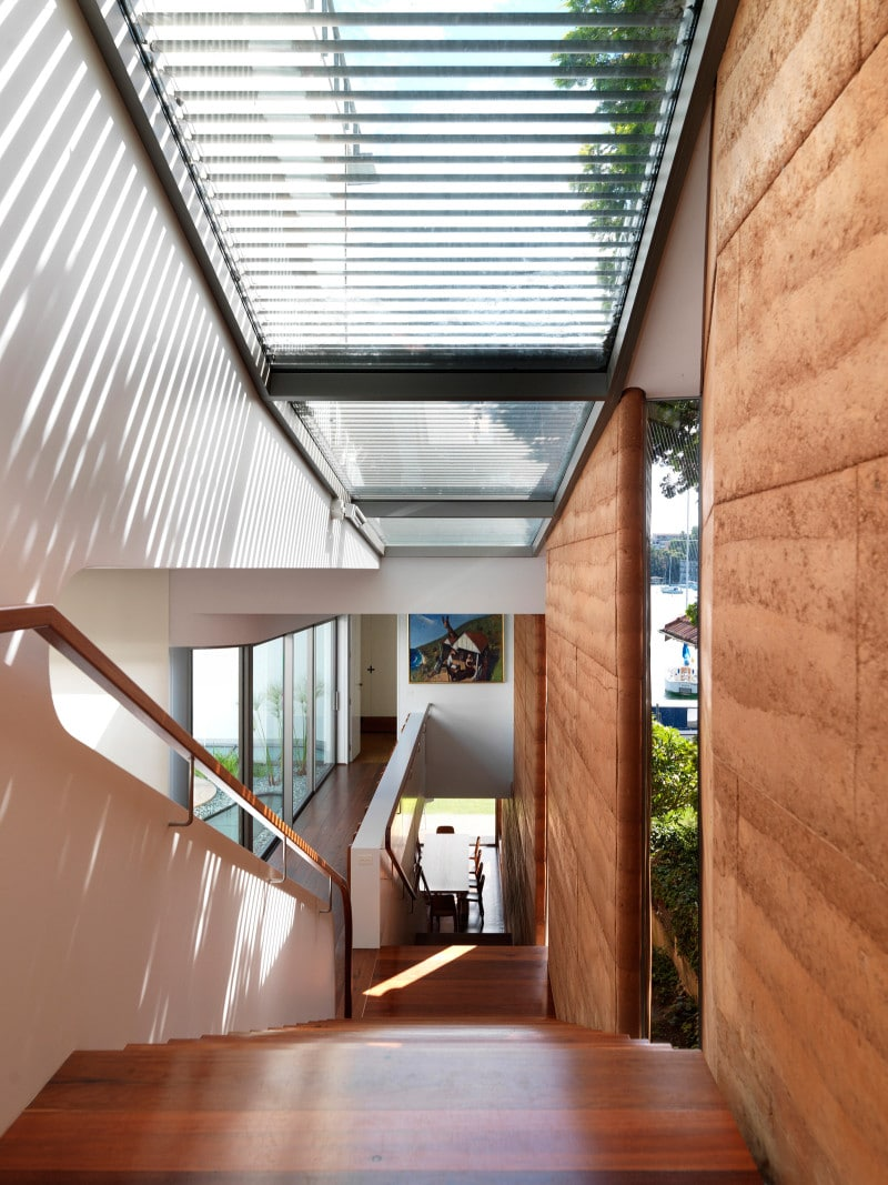 Luigi Rosselli, Rammed Earth Wall, Rammed Earth Internal, Rammed Earth House, Stair, Skylight
