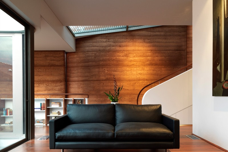Luigi Rosselli, Rammed Earth Wall, Rammed Earth Internal, Rammed Earth House, Stair, Skylight, Curved Balustrade Handrail