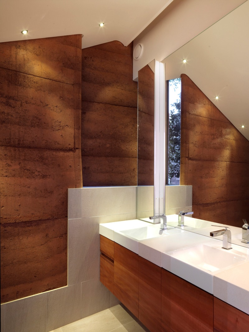 Rammed Earth, Bathroom, Luigi Rosselli, Timber Veneer Bathroom Vanity
