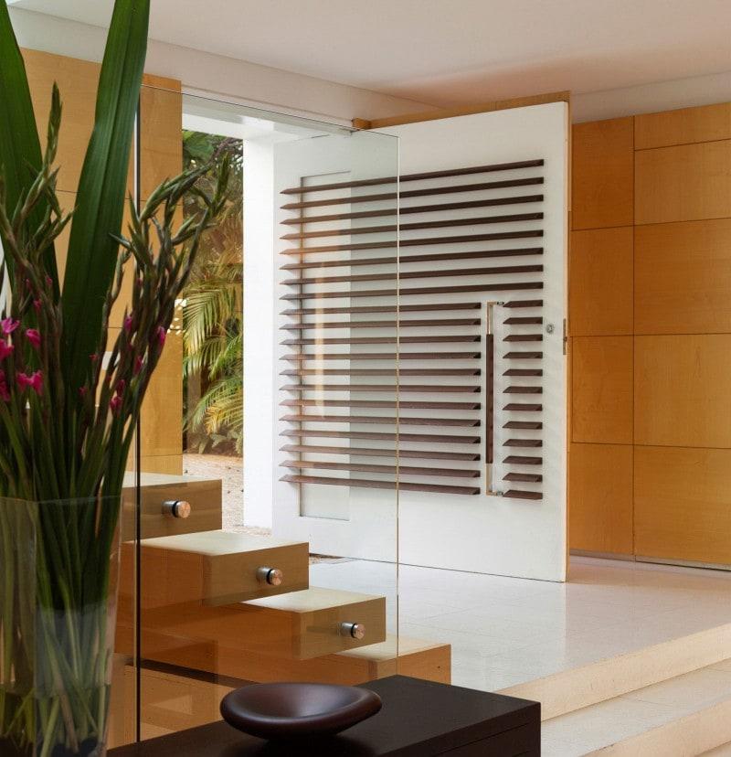 Luigi Rosselli, Large Pivot Entry Door, Floating Timber Steps, Frameless glass balustrade, Tiled Flooring
