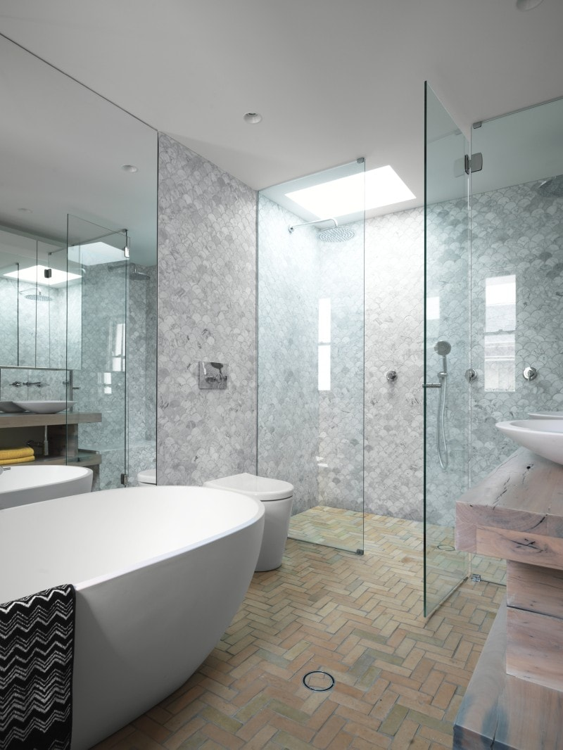 Marble mosaic and terracotta tiled ensuite free standing bath, Frameless Glass Shower Screen