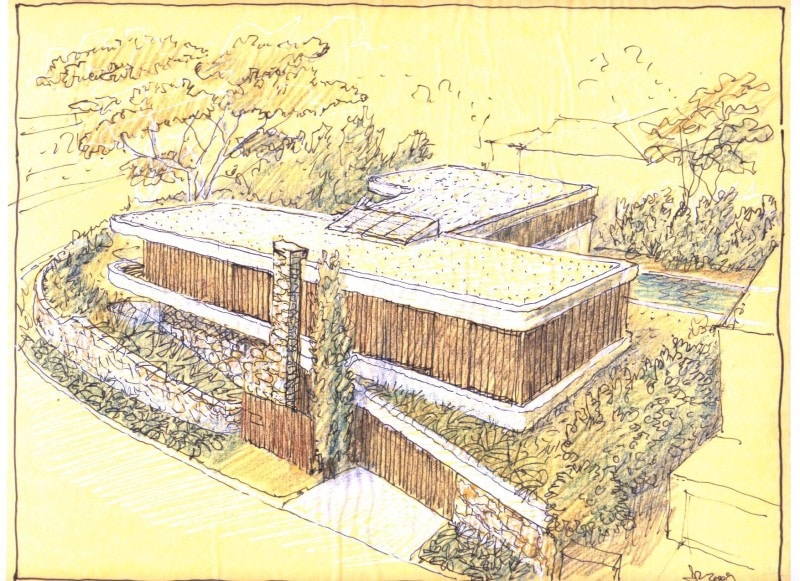 Luigi Rosselli, Sketch, Perspective, Yellow Trace Sketch
