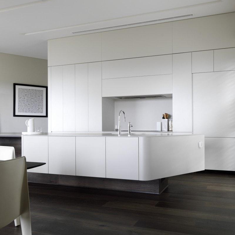 Luigi Rosselli, Kitchen, Concealed Hidden Kitchen, White Kitchen, Floating Kitchen, Dark Timber Flooring