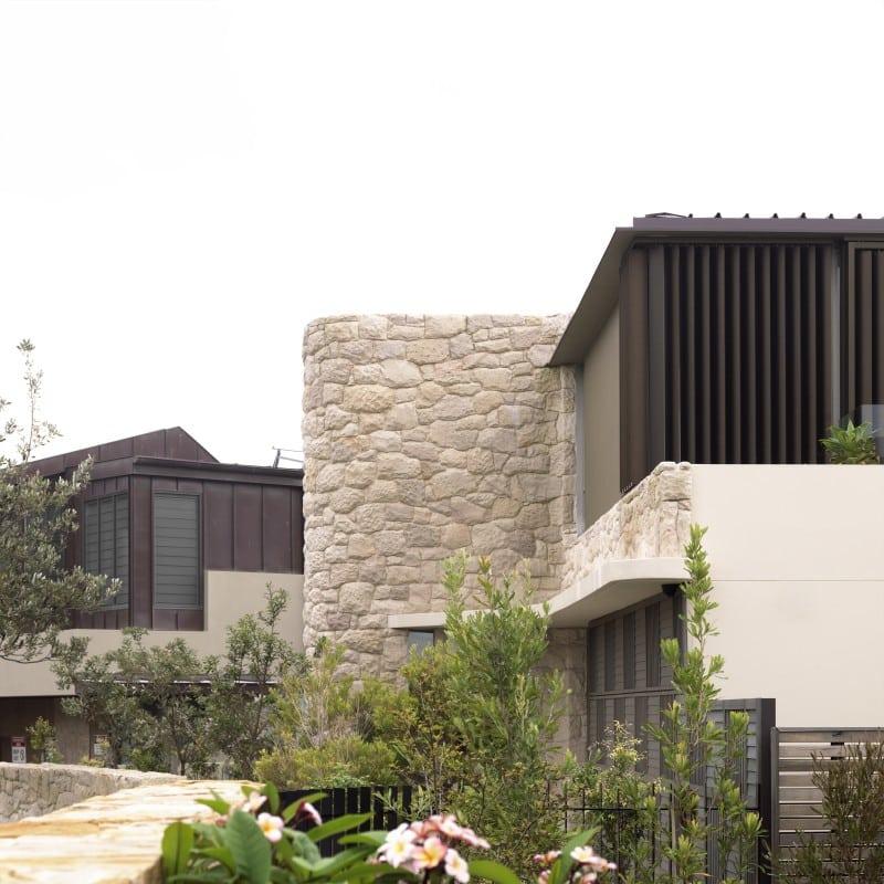 Luigi Rosselli, Cantilever House, Sandstone Cladding, Garage Door, Frameless Glass Balustrade, Stone, Sandstone