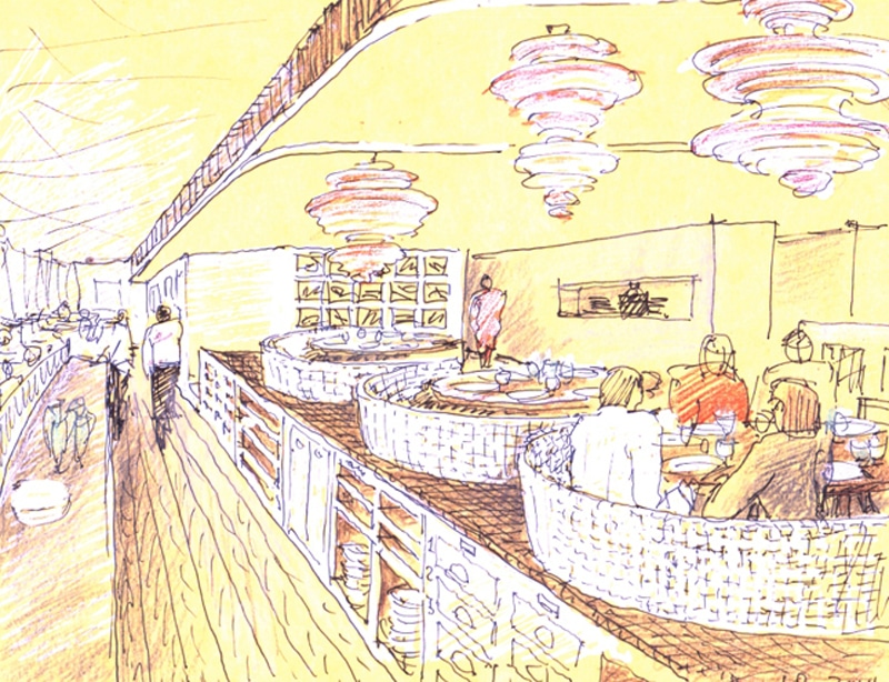 Luigi Rosselli, Perspective Sketch, Yellow Trace Sketch, Restaurant Design, Commerical