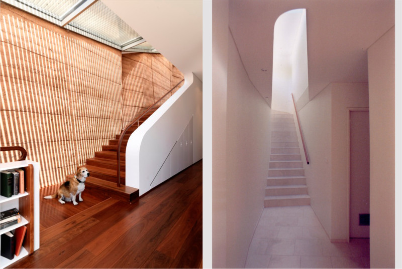 Luigi Rosselli, Rammed Earth Wall, Curved Solid Stair Balustrade, Timber Flooring, Timber Stairs