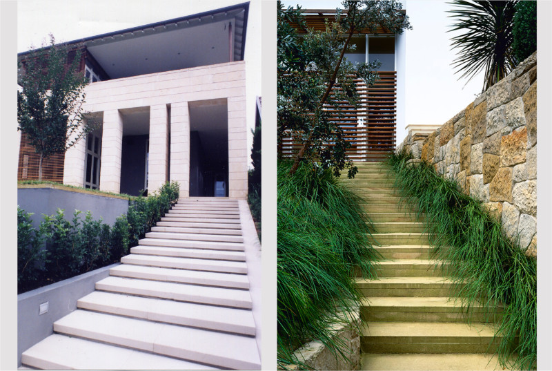 Luigi Rosselli, Stairs, Steps, External Stairs, Landscaped Stairs, Sandstone Wall