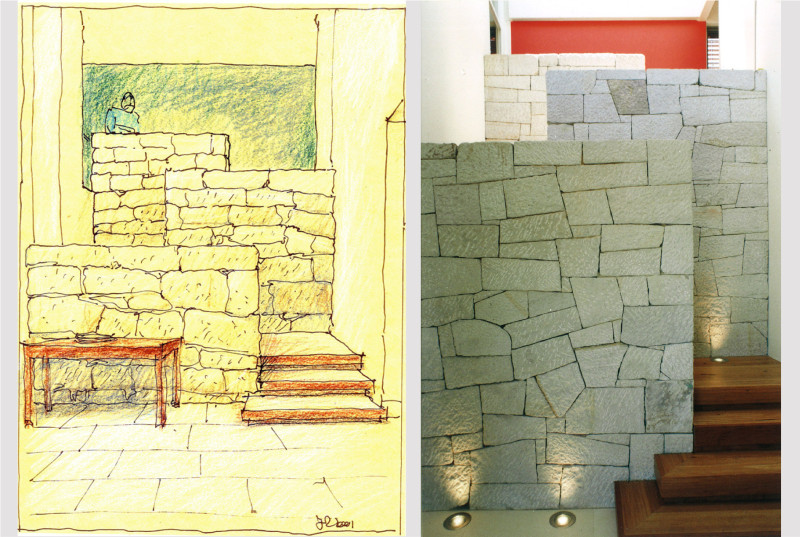 Luigi Rosselli, Stairs, Steps, Sandstone Cladding, Stone, Stone Cladding, Sketch, Perspective