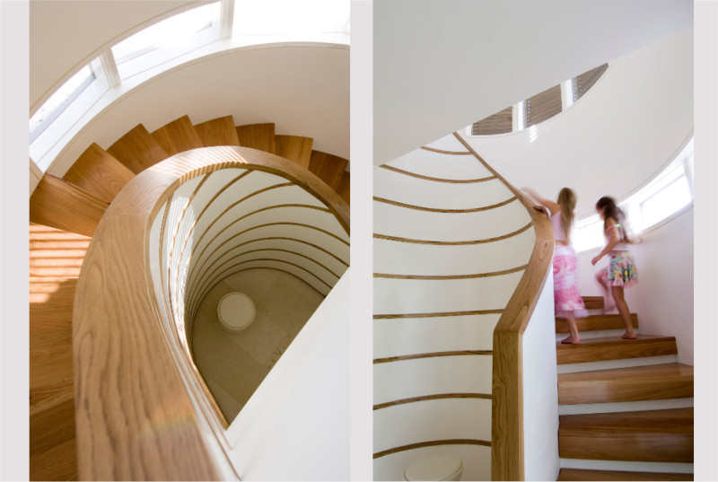 Luigi Rosselli, Stairs, Steps, Curved Stair Concrete, Timber Stair Balustrade