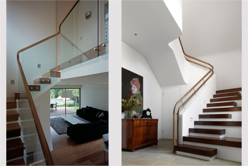 Luigi Rosselli, Stairs, Steps, Curved Stair Concrete, Timber Stair Balustrade, Curved Ceiling