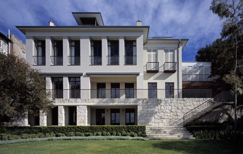 Luigi Rosselli, Sandstone, Stone Wall, Outdoor Steps, Steel Balustrade, Steel Handrail, Perforated Facade, Traditional Architecture, Heritage Architecture
