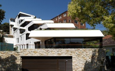 Luigi Rosselli, Concrete, Stepped Balconies, Stone Garage, Timber Garage Door