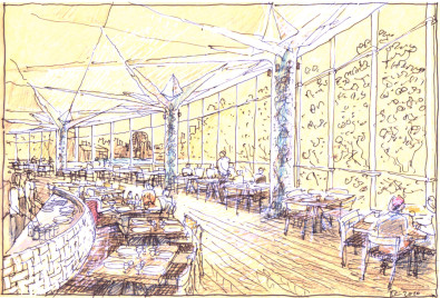 Luigi Rosselli, Perspective, Sketch, Restaurant, Cafe Design, Dining Area, Seating Area