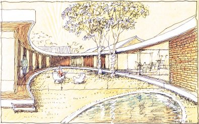 Luigi Rosselli Architects, Sketch, Perspective, Design, Yellow Trace Sketch