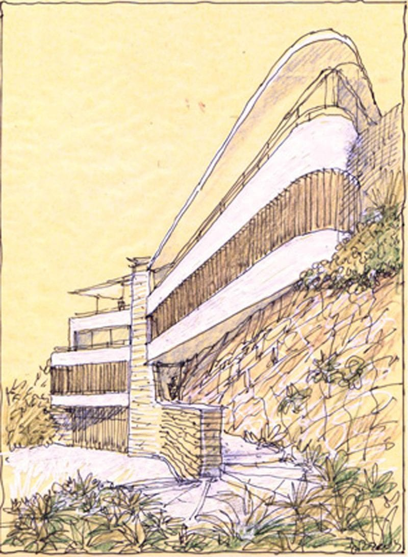 Luigi Rosselli Architects, Bicton House, Sketch, Perspective, Design, Yellow Trace Sketch