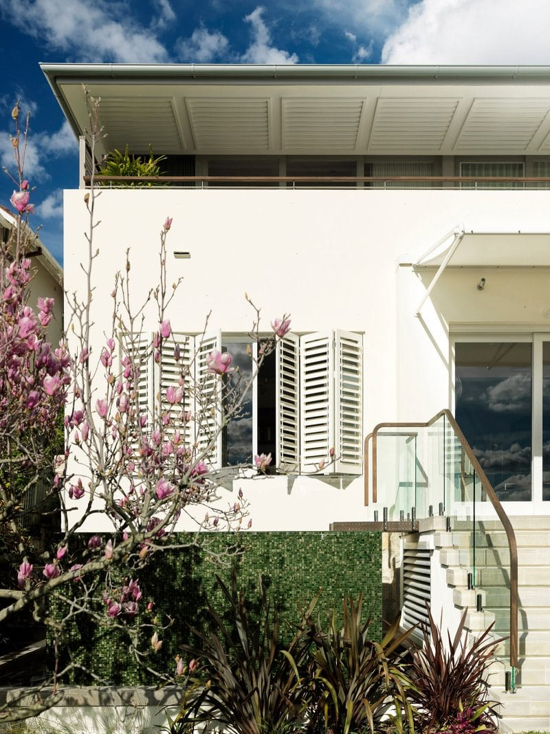 Luigi Rosselli, Timber Shutters, Cherry Blossom Tree, Thin Narrow Roof, Square, Landscaping, Integrated Landscaping