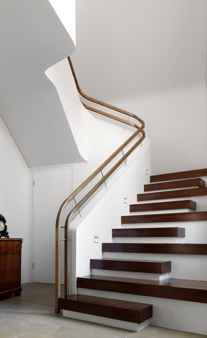 Luigi Rosselli, Timber Stair, Timber Handrail, White Curved Stair