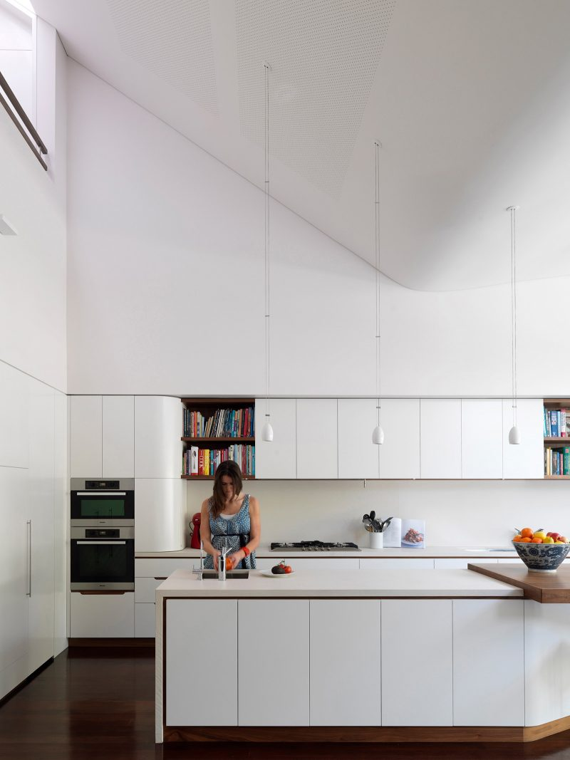 Luigi Rosselli, Curved Ceiling, Kitchen Island Bench, White Kitchen