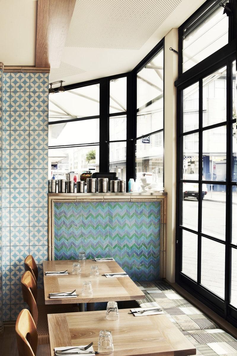 Luigi Rosselli, Cafe, Commercial Interior Architecture, Kitchen, Restaurant, Tiled Splashback, Blue Cafe, Dining