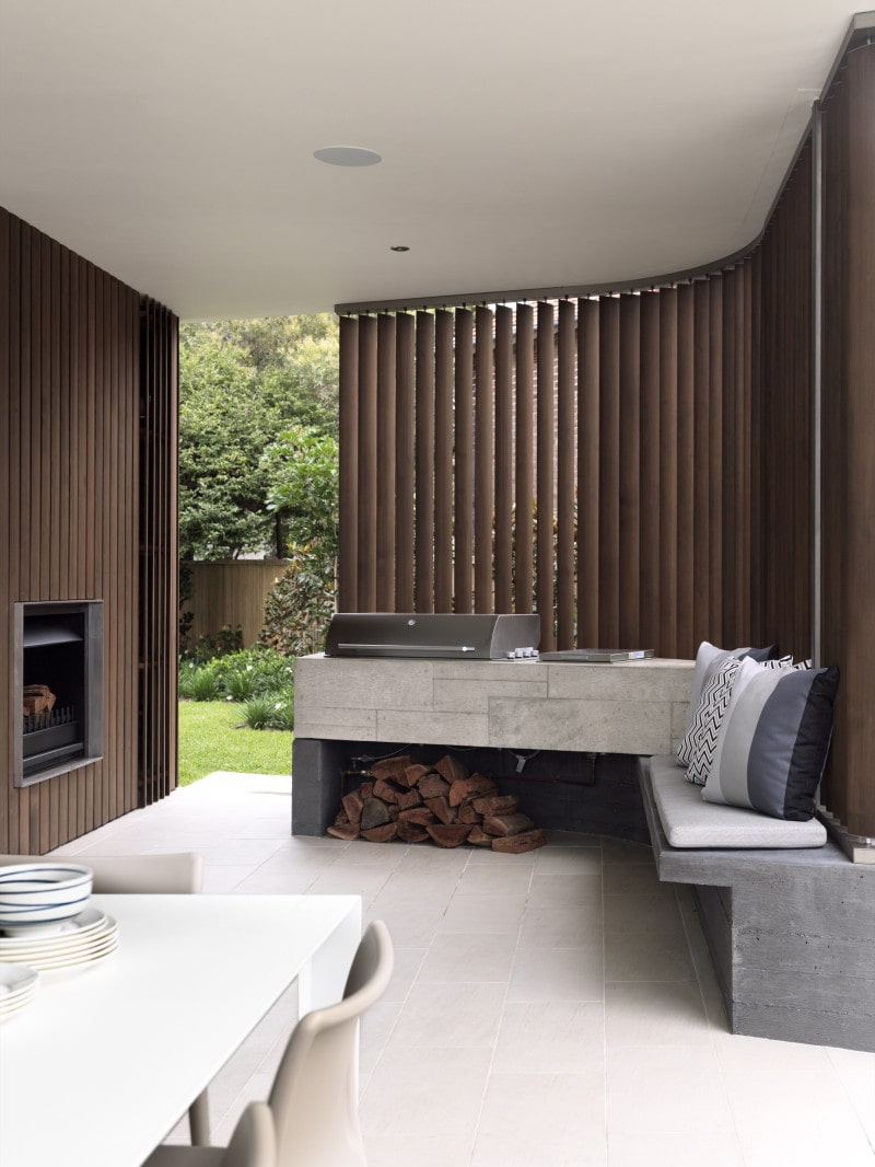 Luigi Rosselli, Concrete, Concrete BBQ Built In, Built In External Seat, Fireplace, Timber Shutter, Firewood, Fireplace