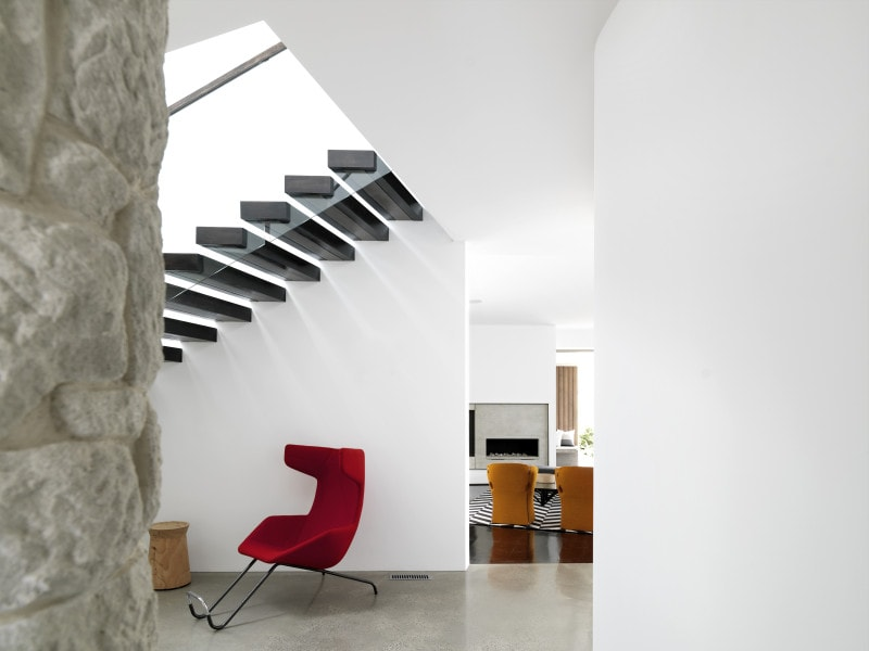 Luigi Rosselli, Suspended Floating Stairs, Cantilevered Stairs, Glass Balustrade and Timber Handrail, Polished Concrete Floor