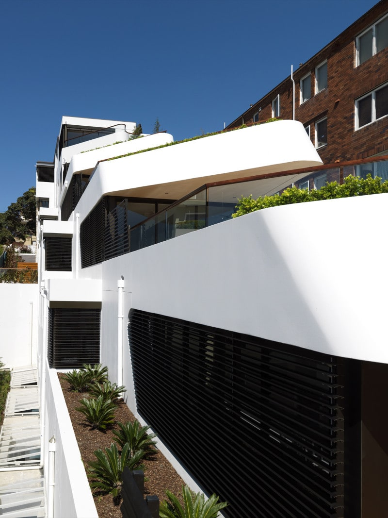 Luigi Rosselli, Apartments, Concrete, Offset Balconies, Built in Planter Boxes, Timber Deck