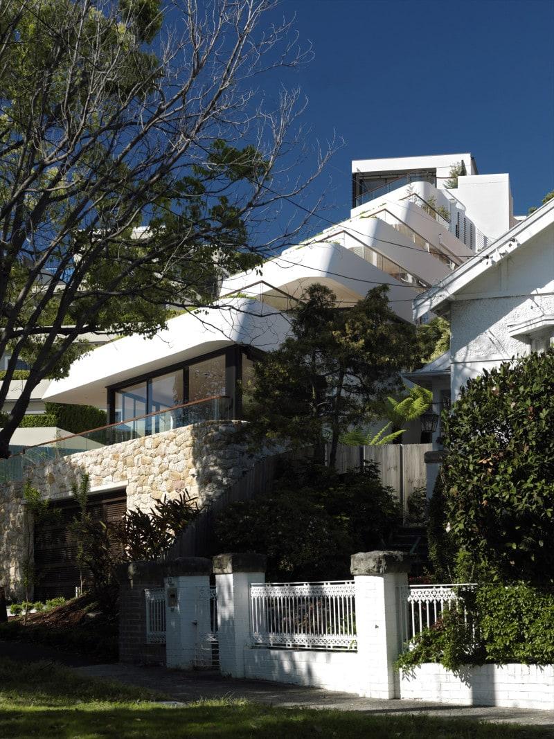 Luigi Rosselli, Apartments, Concrete, Offset Balconies, Built in Planter Boxes, Landscape Architecture