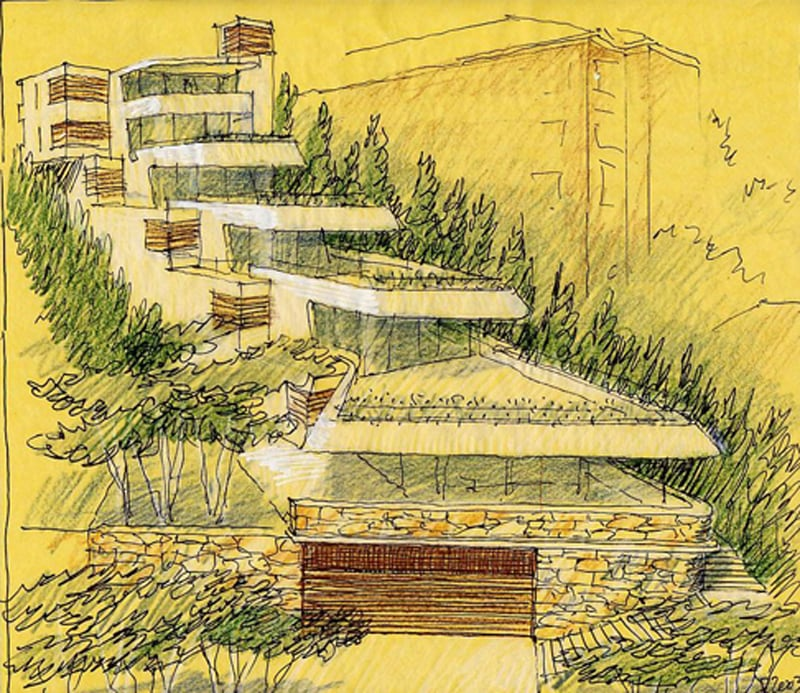 Luigi Rosselli, Apartments, Concrete, Offset Balconies, Built in Planter Boxes, Timber Deck, Luigi Rosselli Sketch, Perspective