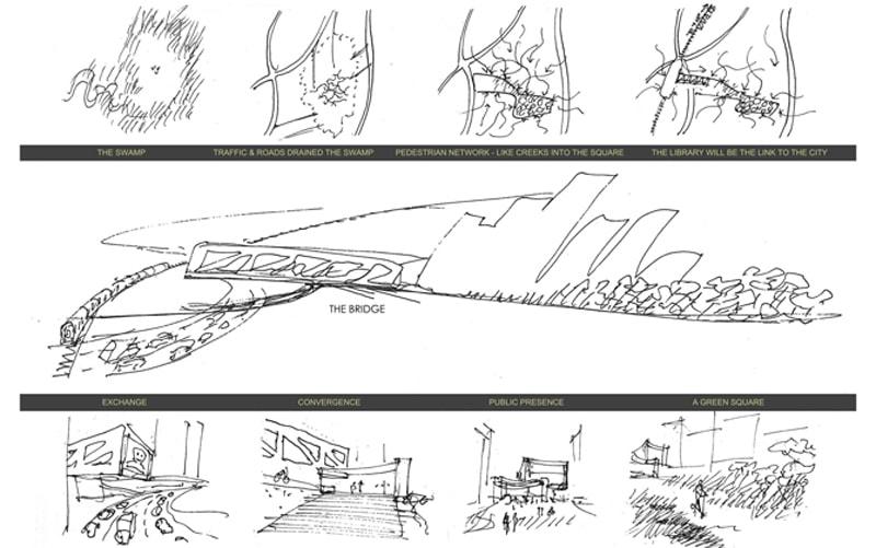 Luigi Rosselli, Competition Design, Library, Public Plaza, Bridge Architecture