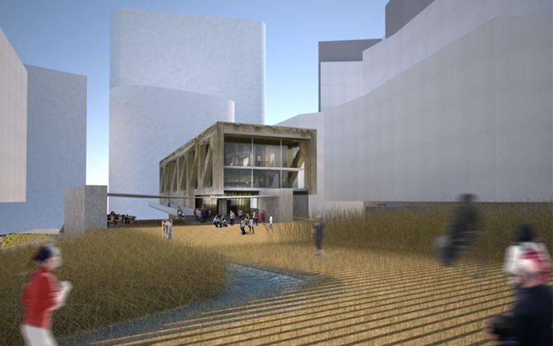 Luigi Rosselli, Competition Design, Library, Public Plaza, Bridge Architecture, Architectural Render