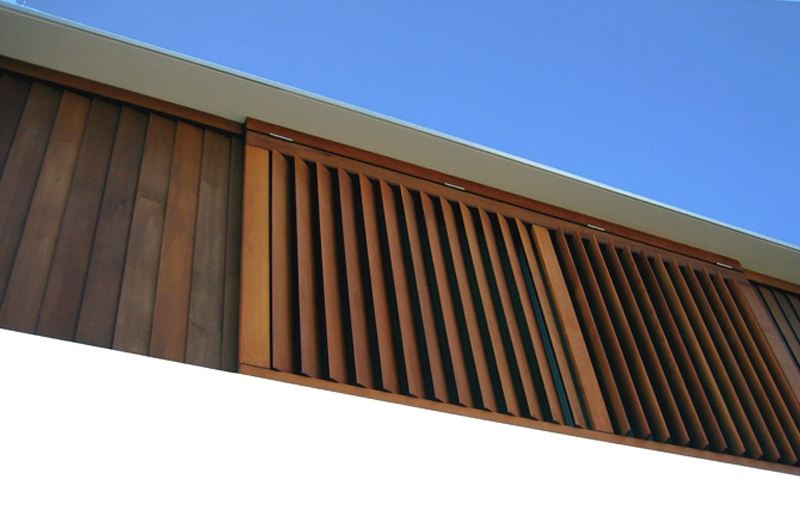 Timber Sliding Shutters, Western Red Cedar Stained
