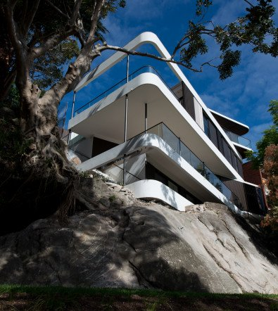 Luigi Rosselli, Concrete, Stone, House on Rock, Balcony, Modern Curved Balcony, Cliff Perched House